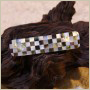 Barrette pour cheveux rectangle damier nacre grise/blanche