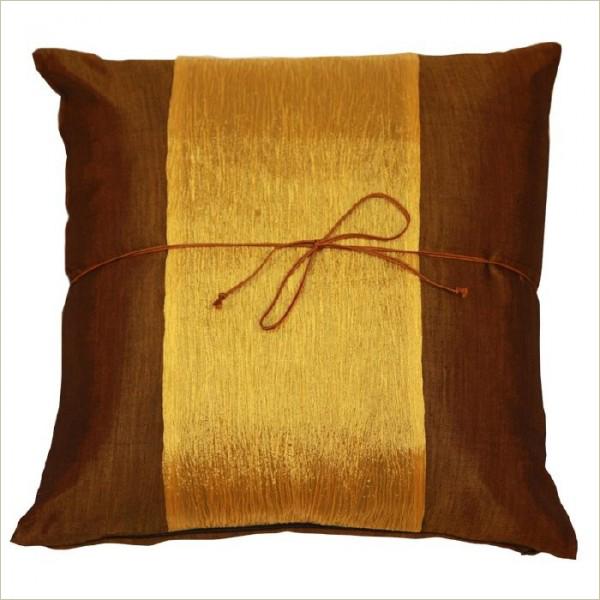 Housse de coussin en soie marron dor akami 000093 - Housse de coussin dore ...